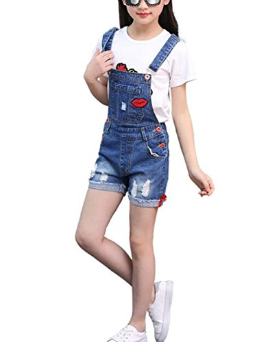 Big Girl's Denim Jumpsuit Boyfriend Jeans Cute Fashion Denim Romper Shortalls 9-10Years by Juakita Barpsa