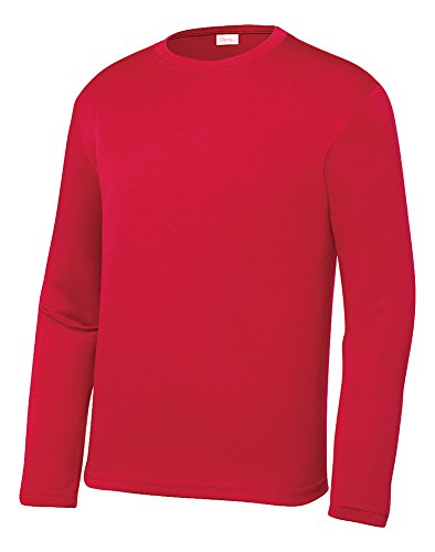 Opna Youth Athletic Performance Long Sleeve Shirts for Boys or Girls Moisture Wicking, Red, Large ()