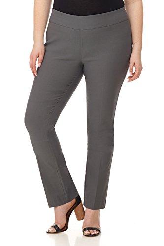 (Rekucci Curvy Woman Plus Size Modern Straight Leg Pant w/Tummy Control (16WSHORT,Graphite))