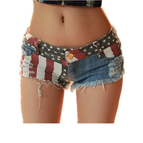 VIGVOG Women Distressed Flag Patch Denim Shorts Clubwear Hot Pant