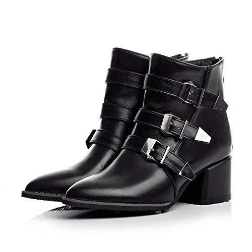 ZHZNVX Frauen-Kampfstiefel PU Herbst & Winter britische Stiefel Chunky Heel Spitz Toe Stiefelies Stiefeletten Schnalle schwarz grau   rot