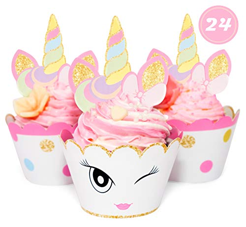 Unicorn Glitter Cupcake Toppers + Wrappers - Set of 24 by Just For Fun Shop | Girls Birthday Party Supplies - Rainbow and Gold Glitter Decorations | Cute favors for Baby Shower | Bachelorette Decor ()