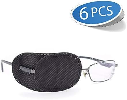 FCAROLYN 6pcs Eye Patch for Glasses to Treat Lazy Eye/Amblyopia/Strabismus,Black