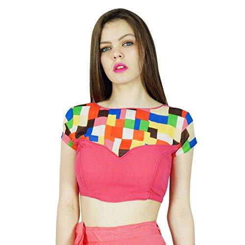 Desgaste Phagun Partido indio Georgette Diseñador Ready-Made de la blusa de la cosecha Top Choli El salmón y beige