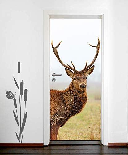 Tier Wald Natur einteilig T/üraufkleber T/ürfolie T/ürposter Bilderdepot24 T/ürtapete selbstklebend Rotwild 90 x 200 cm