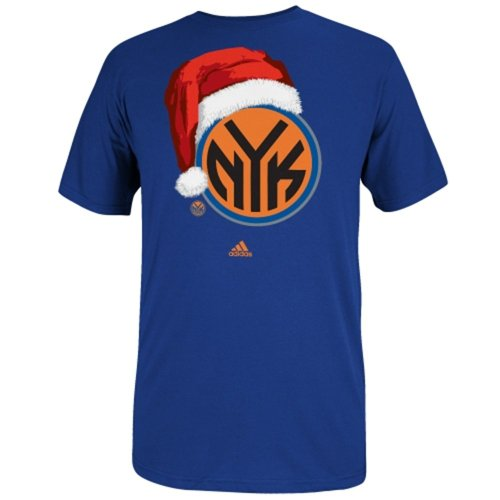 adidas New York Knicks Santa Cap Logo T-Shirt - Royal (Large ) (Adidas T-shirt Cap)
