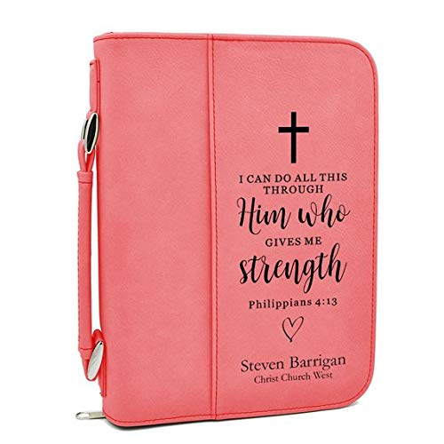 Custom Bible Cover | I Can Do All This Through Him|Personalized Bible Cover (Pink)