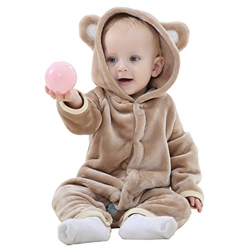 Baby Onesies Bear Animal Hoodies Romper Outfit Cute Style Pajamas Brown]()
