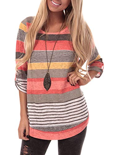 (YOUCOO Women Casual Stripe Blouse Crewneck Long Sleeve Pullover Tunic Tops Shirts Large Orange)