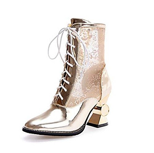 Gladiator Casual Fall Party Heel Evening PU up Wedding amp; Shoes Size Tulle 43 32 Women's Eu Club Gold Spring Dhoes Dress Spool Summer Boots Comfort Lace qtawf7Xx