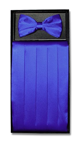 Blue Silk Cummerbunds - SILK Cumberbund & BowTie Solid ROYAL BLUE Color Men's Cummerbund Bow Tie Set