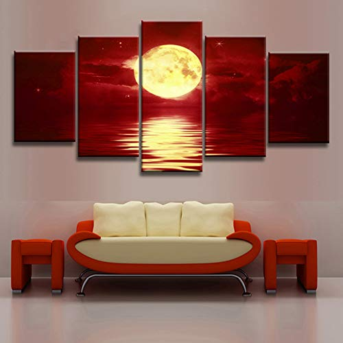 Natural Gold Pictures (KINYNE Red Skyline Wall Art Canvas Prints Natural Landscape Pictures Modern Decor Painting - Gold Full Moon Over The Sea (5 Pieces),B,20X30x2+20X40x2+20X50x1)