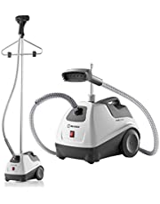 """Reliable Vivio 500GC Garment Steamer - PVC Steam Head and Easy Roll Wheels, Garment Steamer with Removable Hanger, 1 Gallon Water Capacity, 1300W Brass Elements with Auto Shut Off and 63"""" Long Hose"""