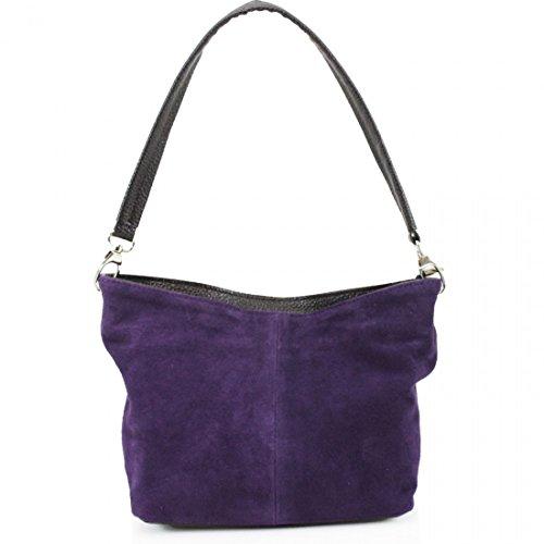 Handbags Leather 57 Purple Bag Shoulder Suede LeahWard Women's Real fqxAwX4Ot