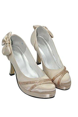 Kevin Fashion gymz646Ladies Ronda Toe Stiletto Heel Satin Lazo Plataforma Boda Novia Zapatos dorado