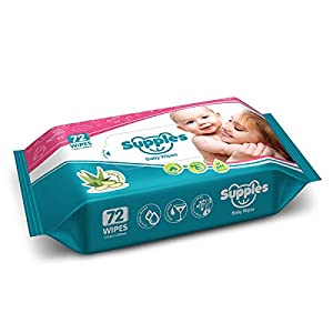 Supples Baby Wet Wipes with Aloe Vera and Vitamin E – 72 Wipes/Pack, (Pack of 3)