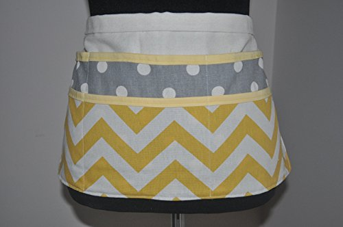 Women's teacher apron in yellow chevron and gray polka dots - White Bias Apron