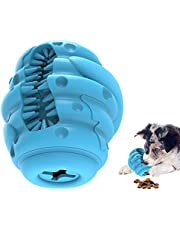 Dog Slow Feeder Toy, Natural Rubber Slow Dispenser Interactive Dog Food Treat Puzzle Toy with Toothbrush IQ Training Ball Teeth Grinding for Dogs 20-55 lbs (Blue)