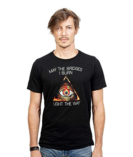 Custom Embroidered Denim Shirt (Cult of Individuality Men's 'Light The Way' Embroidered Crewneck T-Shirt, Black, Medium)