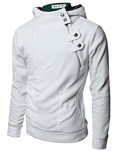 Doublju Men Trendy Long Sleeve Slim Fit Fleece Hoodies Jacket WHITE,L