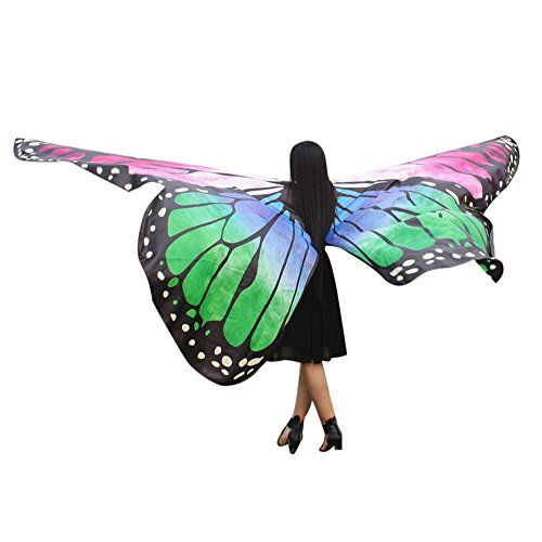 vermers Women Costume Egypt Belly Wings Dancing Costume Butterfly Wings Dance Accessories No Sticks(Green) -