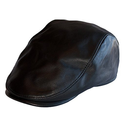 Piel Hombre Negro Boina Sombrero Casquillos Cuero Plano Gatsby Beret Gorra Dazoriginal fXBZqpxw