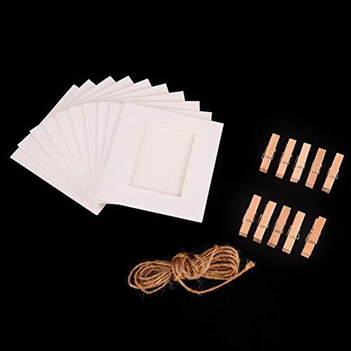 Frame - 3 Inch 10pcs Paper Frame Photo With Clips And Rope Combination Diy Wall Hanging Picture Album Home - 20x20 Wedding Pictur Multi White Photo Wall Frame Baby Living -