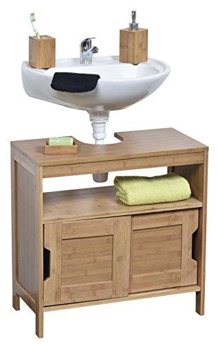 Unterschrank für Waschbecken oder Spüle - 2 Türen + 1 Regal + 1 Fach - exotischer Stil - aus BAMBUS