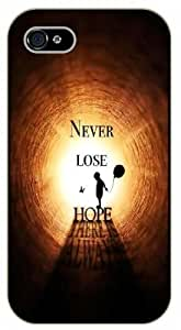 iPhone 5 / 5s Never lose hope, black plastic case / Inspirational and motivational life quotes / SURELOCK AUTHENTIC