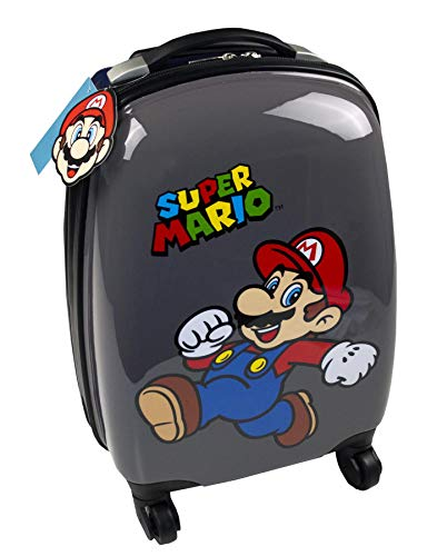 (Official Nintendo Super Mario Kids Hard Cover Carry On Trolley Suitcase Trolley 35x26x20cm)