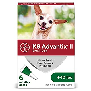 K9 Advantix II Flea And Tick Prevention For Dogs, Dog Flea And Tick Treatment For Small Dogs 4-10 lbs, 6 Monthly Applications