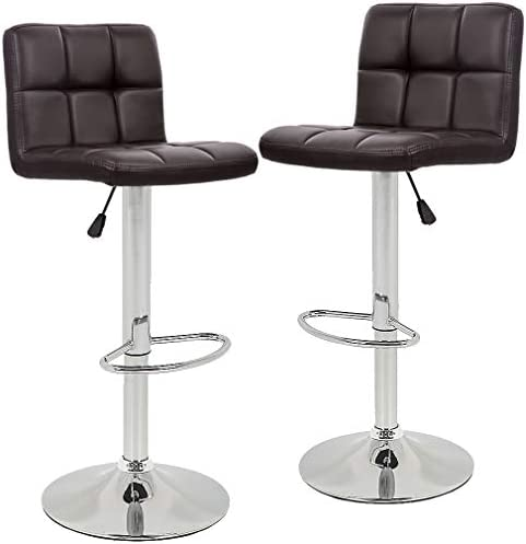 Counter Height Bar Stools Set of 2 Bar Chairs Counter Height Adjustable Swivel Stool