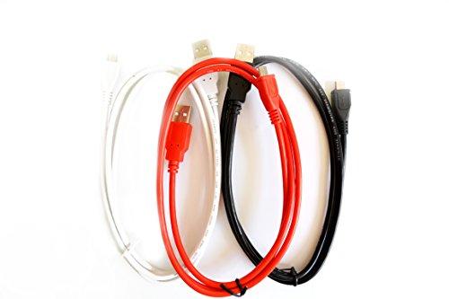 m-one 3er Pack 1m Micro USB Daten & Ladekabel Kabel für Handy-Samsung Galaxy Pocket 2G110H-(rot schwarz & weiß)