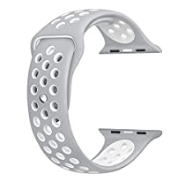 top4cus 38mm Soft Silicone Replacement Sport Strap iWatch Band for Apple Watch 38mm Edition & Sport & Apple watch NIKE Series 1 and Series 2 - Small/Medium - Nike Regular Flat Silver/White