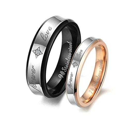 Epinki Stainless Steel 6MM/4MM Couple Rings Engraved Forever Love Wedding BandsWomen Size 8 & Men Size 7 -