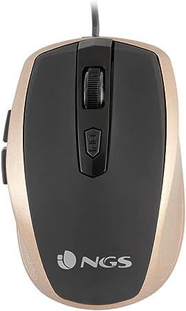 NGS Tick Gold - Ratón Óptico 800/1600dpi con Cable USB, Ratón para Ordenador o Portátil con 6 Botones, Ergonomia para Diestros, Dorado y Negro