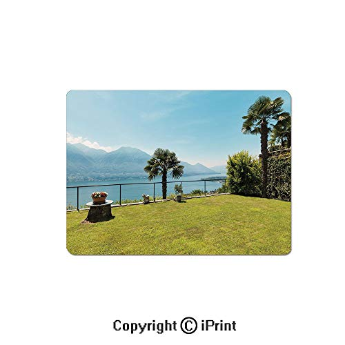 (Gaming Mouse Pad Custom,Ocean View Forest Scenery with Palm Trees and Mountain Terrace Image Mouse Mat,Non-Slip Rubber Base Mousepad,7.9x9.5 inch,Green and Sky)