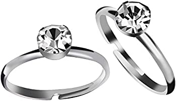 Aboat 100 Pack Silver Diamond Bridal Shower Rings For Wedding