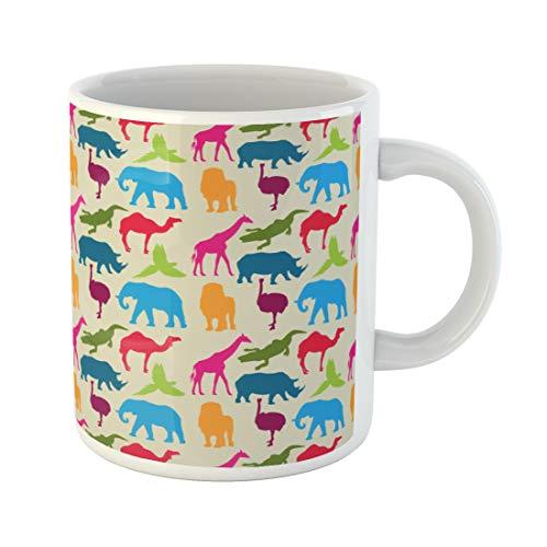 Semtomn Funny Coffee Mug Elephant Animal Pattern Rhino Camel Ostrich Ara Crocodile Giraffe 11 Oz Ceramic Coffee Mugs Tea Cup Best Gift Or Souvenir