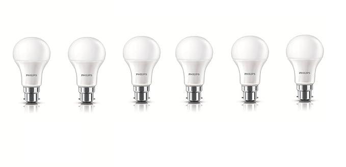 Philips Base B22 10.5-Watt LED bulb (Cool Day Light,Pack of 6) LED Bulbs at amazon