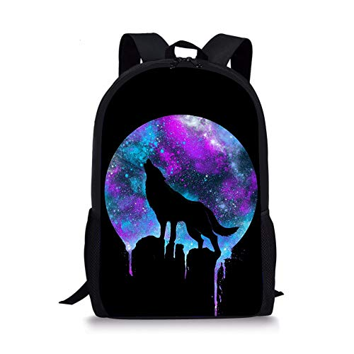Xinind Cool Eagle Printing Book Bag, Durable Elementary School Backpack, Polyester Bag For Boys Girls Study Bag (wolf-moon-2)