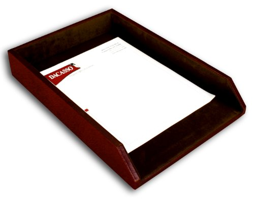Dacasso Mocha Leather Letter Tray, Legal Size