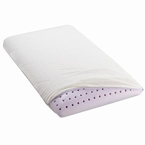 "Lavender Scented Natural Extract Infused Aromatherapy Premium Memory Foam Pillow – Removable Machine Washable Cover – 5 Year Warranty – Low Profile - Standard-Queen Size (16"" x 28"") - Hypoallergenic ()"