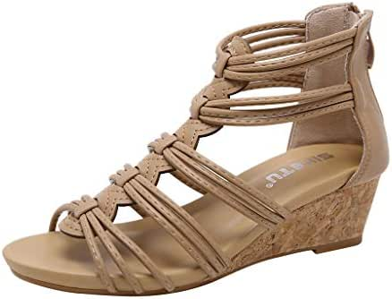 Sherostore ♡ Women Sandals Plus Size Summer Retro Wedges Hollow Casual Shoes Strap Gladiator Roman Sandals