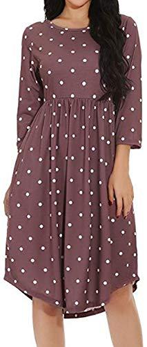 LunaJany Women's Polka Dot Empire Waist Pleated Swing Midi Dress
