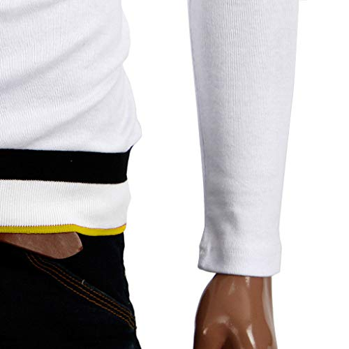 Tee Unie Blanc5 Hommes Chemisier Shirt shirt Homme T Timemeans Longues Couleur Manches 0Pq515
