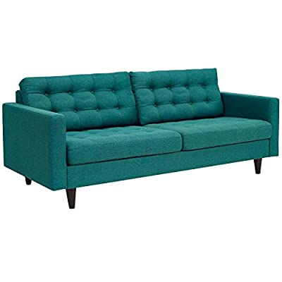 Modway Empress Mid-Century Modern Upholstered Fabric Sofa In Teal - CONTEMPORARY STYLE - The roomy depth and iconic look of Empress showcase mid-century modern design. Boasting tailored lines and a hopeful style, this piece embodies retro intrigue and sophistication. FINE UPHOLSTERY - Upholstered in quality polyester, Empress emboldens décor with a design worth remembering. This distinctive collection makes for a striking statement brimming with possibility. MODERN LOUNGE SPOT - A cherished tufted button seat for lounge spaces of all types, Empress provides an elegant place to rest when delving deep into conversation or sipping a steaming cup of tea. - sofas-couches, living-room-furniture, living-room - 41WVY%2ByRhkL. SS400  -