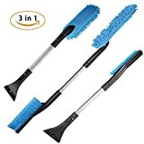 3 in 1 Winter Extendable Snow Removal Cleaner Brush and Ice Scraper Shovel for Automotive SUV Car Truck, Plus a Soft Microfiber Cleaning Towel Mitt and Warm Up Windproof Insulated Glove