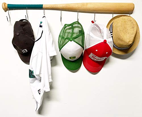 Souvenir Baseball Jersey - Wall Mounted Hanging Hardwood Baseball Bat Hat Coat Jersey & Cap Rack Display: Useful & Unique Gift Idea for Baseball Lovers or The Perfect Hallway Mudroom Organization System (Teal)