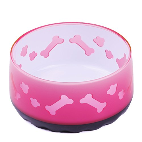 Super Design Acrylic Bowl with Fish/Bone Pattern,for Dogs and Cats,Non-Skid Bottom, 32 oz 1 Quart, Pink